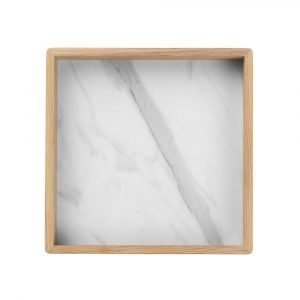 Louise Roe Small Square Tarjotin Valkoinen Marmori 28x28 Cm