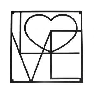 Love Collection Love Heart Pannunalunen Musta 18x18 Cm