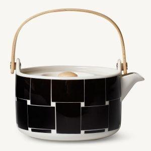 Marimekko Basket Teekannu Musta / Valkoinen 70 Cl