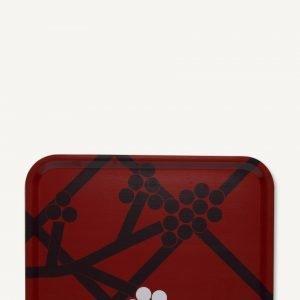 Marimekko Hortensie Tarjotin Valkoinen Tummanharmaa Vaaleanpunainen 43x33 Cm