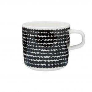 Marimekko Oiva Siirtolapuutarha Kahvikuppi Valkoinen / Musta 20 Cl