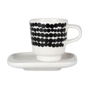 Marimekko Siirtolapuutarha Espressokuppi Ja Asetti Valkoinen Musta