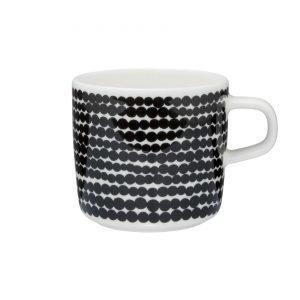 Marimekko Siirtolapuutarha Kahvikuppi Räsymatto Valkoinen Musta 2 Dl