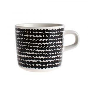 Marimekko Siirtolapuutarha Kahvikuppi Valkoinen / Musta 20 Cl