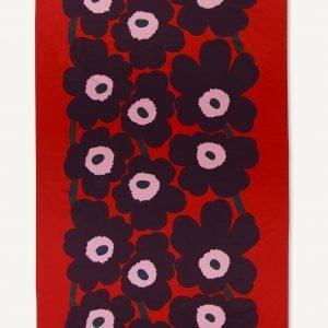 Marimekko Unikko Satiinipöytäliina Punainen Violetti Vaaleanpunainen 155x280 Cm