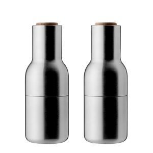 Menu Bottle Suola- Ja Pippurimylly Harjattu Teräs / Pähkinä 2 Kpl