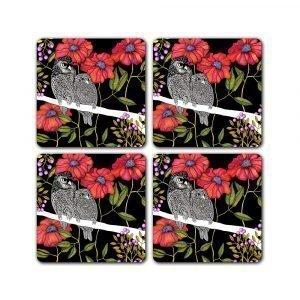 Nadja Wedin Design Arga Ugglor Lasinalunen 9x9 Cm