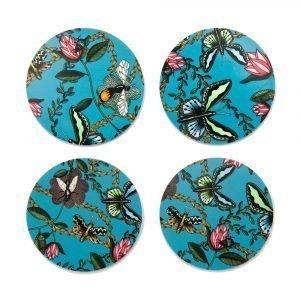 Nadja Wedin Design Bugs & Butterflies Lasinalunen Ø9 Cm 4-Pakkaus