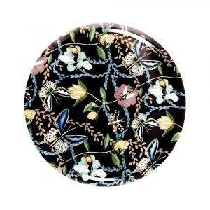 Nadja Wedin Design Bugs & Butterflies Tarjotin Musta Ø65 Cm