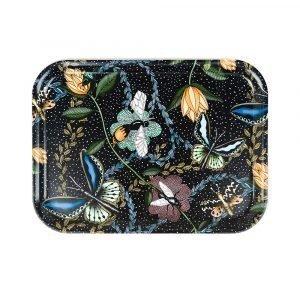 Nadja Wedin Design Bugs & Butterflies Tarjotin Musta 27x20 Cm