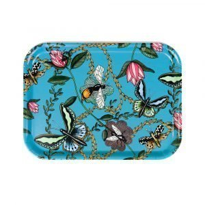 Nadja Wedin Design Bugs & Butterflies Tarjotin Turkoosi 27x20 Cm