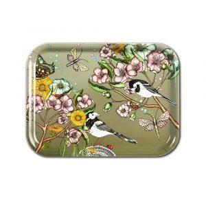 Nadja Wedin Design Wagtails Spring Tarjotin Moss 27x20 Cm