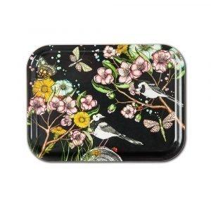 Nadja Wedin Design Wagtails Spring Tarjotin Musta 27x20 Cm