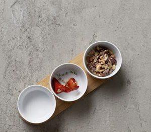 Nordic Sense Snack-setti 4-osainen bambupuualusta