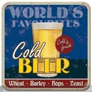 Nostalgic Art Retro Lasinalusta Gold Beer 4 Kpl