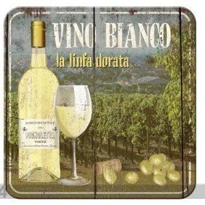 Nostalgic Art Retro Lasinalusta Vino Bianco 4 Kpl