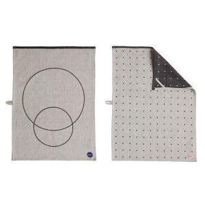 Oyoy Circle Keittiöpyyhe Musta / Valkoinen 50x70 Cm 2-Pakkaus