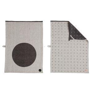 Oyoy Dot Keittiöpyyhe Musta / Valkoinen 50x70 Cm 2-Pakkaus