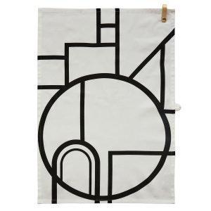 Oyoy Ponyo Keittiöpyyhe Musta / Valkoinen 50x70 Cm