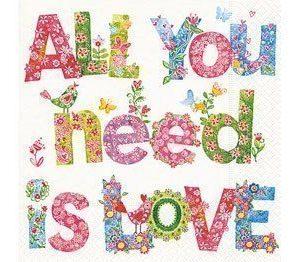 Paperiservetti All you need is love 20kpl 33cm x 33cm