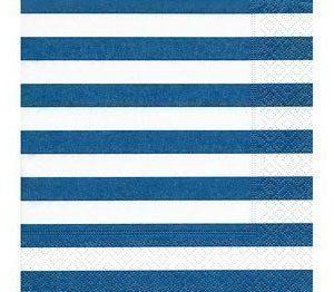 Paperiservetti Sininen/valkoinen-stripes 20kpl 33cm x 33cm