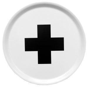 Pia Wallén Cross Tarjotin Valkoinen / Musta Ø38 Cm