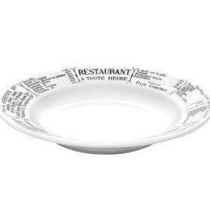 Pillivuyt Brasserie Syvä lautanen valko/musta 23 cm