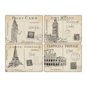 Pimpernel Postcard Sketches Pöytätabletti 4-Pakkaus