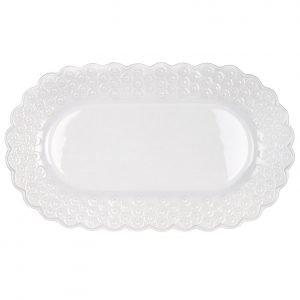 Potteryjo Ditsy Tarjoiluvati Ovaali Valkoinen 34x24 Cm