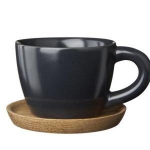 Rörstrand Höganäs Espressokuppi Ja Aluslautanen Grafiitinharmaa 10 Cl