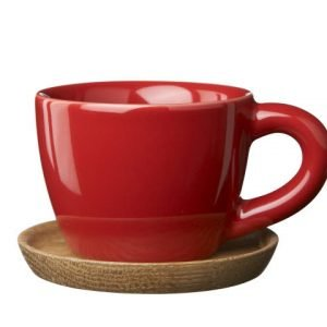 Rörstrand Höganäs Espressokuppi Ja Aluslautanen Punainen 10 Cl