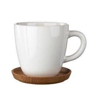 Rörstrand Höganäs Kahvikuppi 33 cl Valkoinen puualustalla