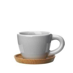 Rörstrand Höganäs Keraaminen Espressokuppi + puualusta 10 cl