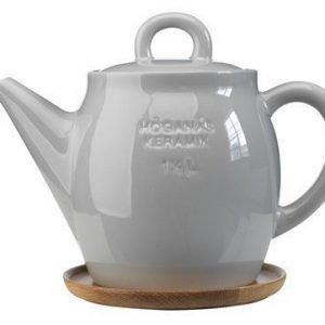 Rörstrand Höganäs Keraaminen Teekannu + puuvati 1