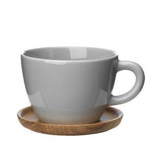 Rörstrand Höganäs Keraaminen Teekuppi + puualusta 50 cl