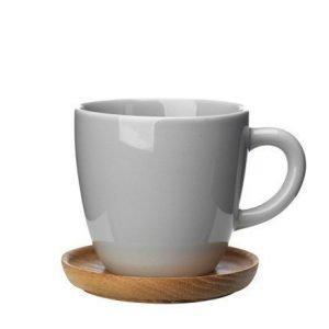 Rörstrand Höganäs Keraaminen kahvikuppi + puualusta 33 cl Harmaa