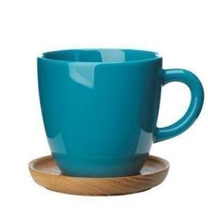 Rörstrand Höganäs Keraaminen kahvikuppi + puualusta 33 cl