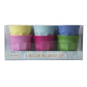 Rice Classic Colors Muki Melamiini 9 Cm 6 Kpl