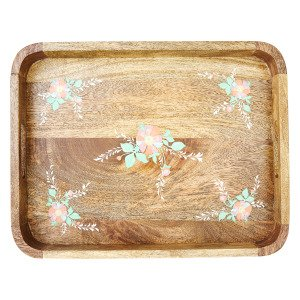 Rice Flowers Tarjotin Puu Vaaleanpunainen 45x35 Cm