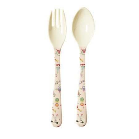 Rice Kids Melamine Spoon and Fork with Circus Print