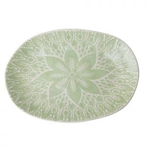 Rice Lace Print Tarjoilulautanen Keraaminen Vihreä 25 Cm
