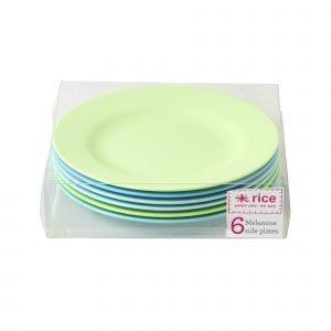 Rice Lautanen Melamiini Sininen / Vihreä 20 Cm 6 Kpl