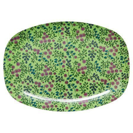 Rice Lautanen Melamiini vihreä pieni kukallinen 30x22
