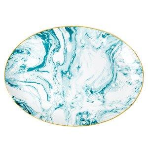 Rice Marble Print Tarjoiluvati Posliini Vihreä 35x25 Cm