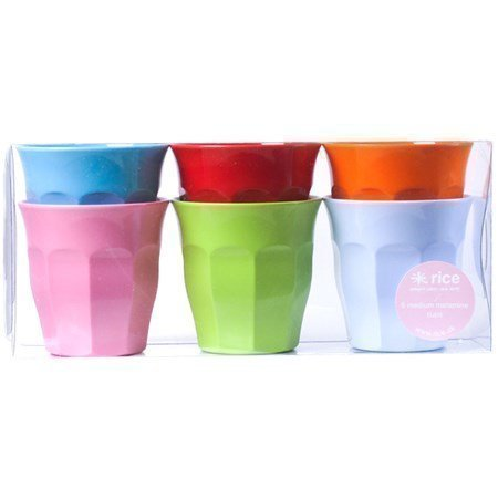 Rice Medium Melamine Curved Cups - 6 Pack Bright Colors