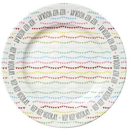 Rice Melamine Cake Platter in Happy Birthday Print ø 33 cm