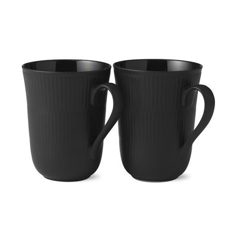 Royal Copenhagen Black Fluted Muki 2 kpl 33 cl