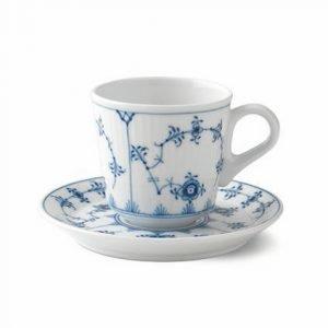 Royal Copenhagen Blue Fluted Espresso Kuppi & Aluslautanen 9 Cl