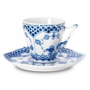 Royal Copenhagen Blue Fluted Full Lace Kahvikuppi Ja Lautanen 14 Cl