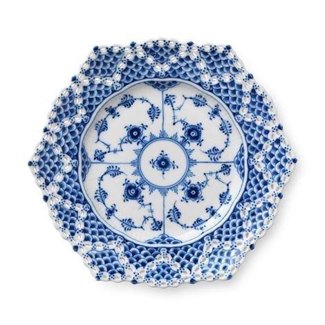 Royal Copenhagen Blue Fluted Full Lace Lautanen Pitsireunalla Ø 21 cm
